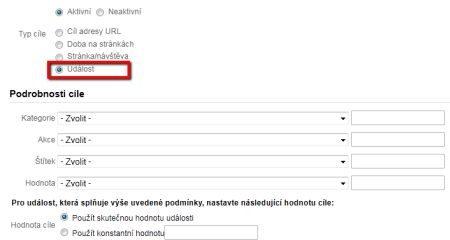 Google Analytics události jako cíle