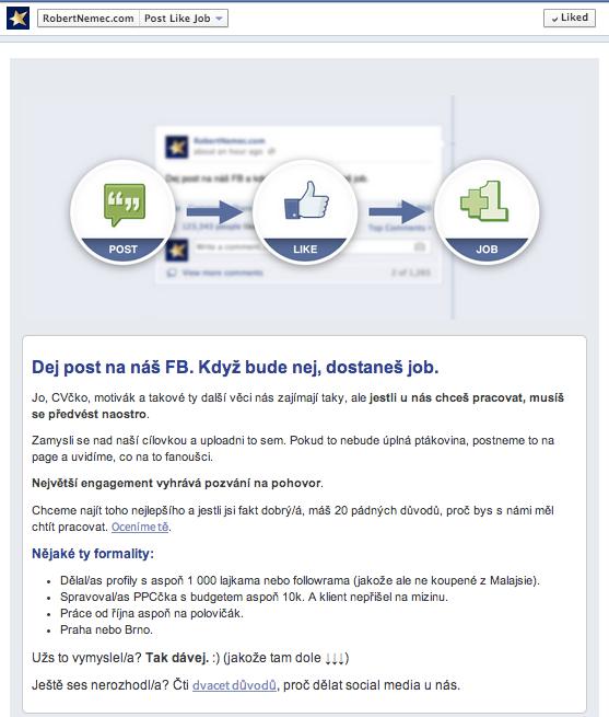 Ukázka jak může vypadat záložka na Facebooku