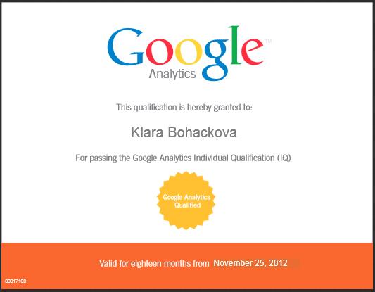 Klara Boháčková Kunová - certifikár Google Analytics