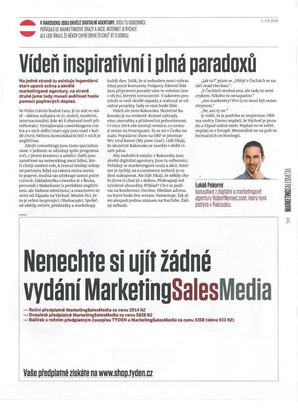 Lukáš Pokorný z agentury RobertNemec.com v MarketingSalesMedia