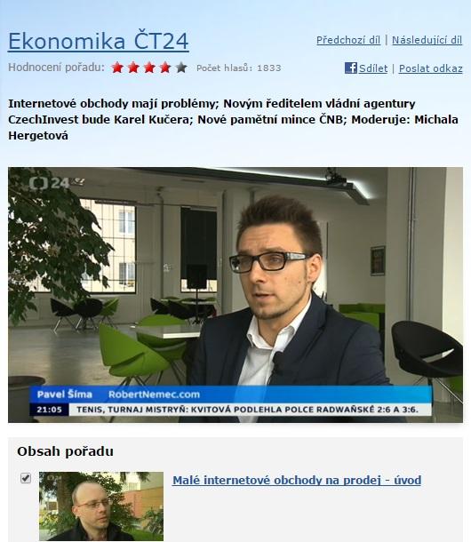 Pavel Šíma z agentury RobertNemec.com v České televizi