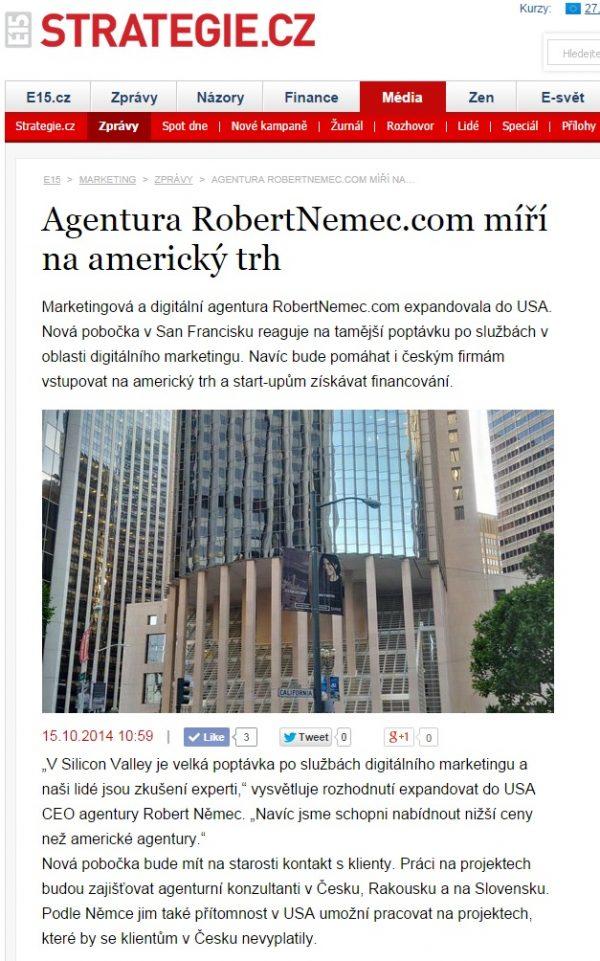 E15 píše o růstu agentury RobertNemec.com