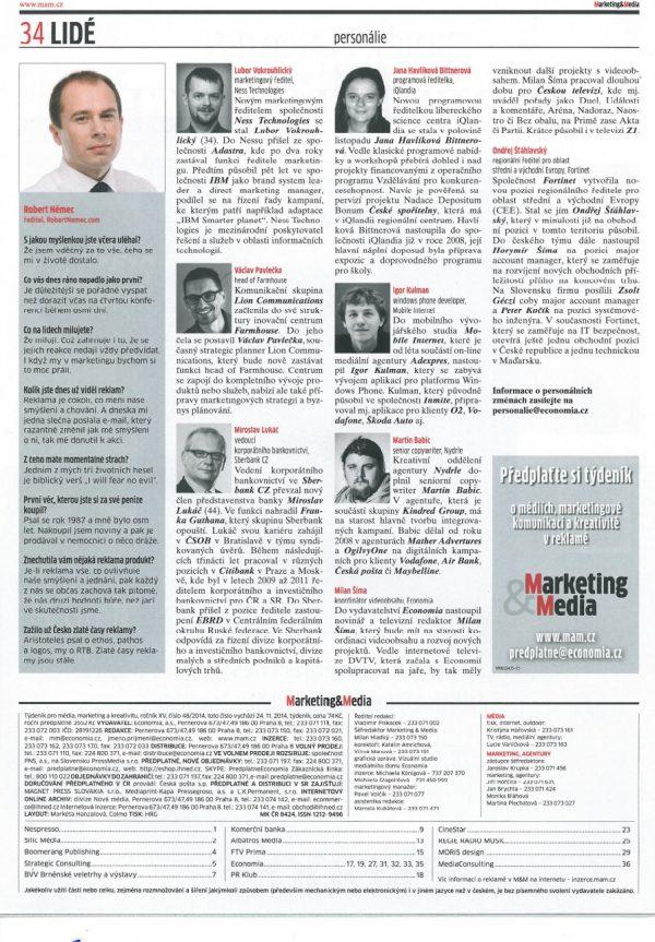 Robert Němec v týdeníku Marketing&Média