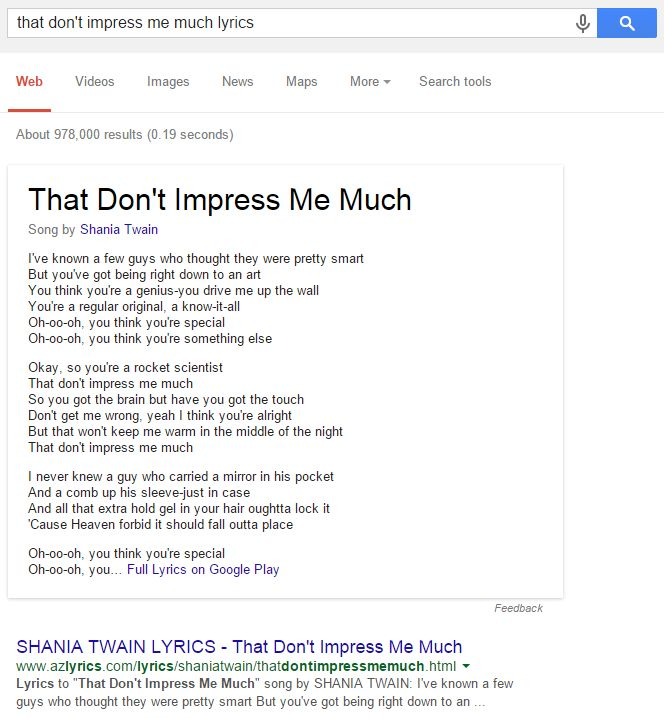 google-shania-lyrics