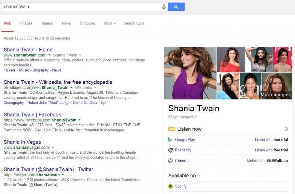 google-shania-music