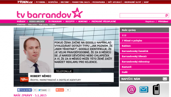 Robert Němec v TV Barrandov o Google.