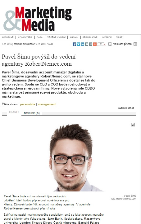 Pavel Šíma z RobertNemec.com v Marketing&Média