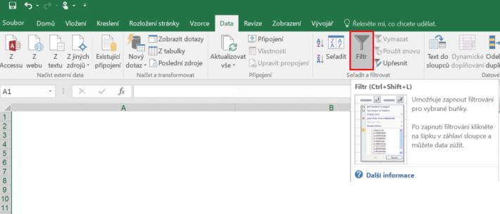 Excel filtr