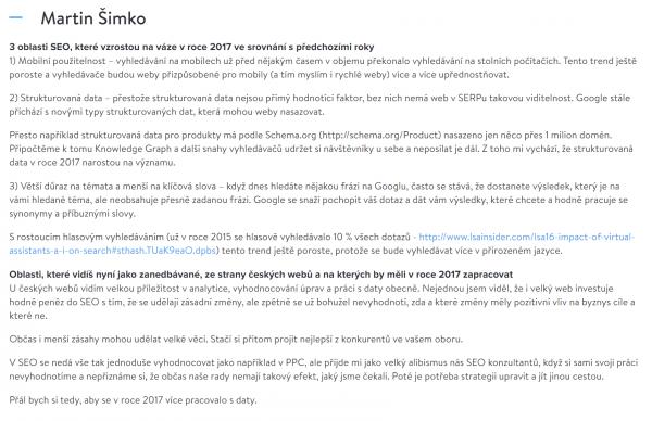 Martin Šimko odpovídal na otázky Marketing Mineru - Jak bude vypadat SEO v roce 2017.