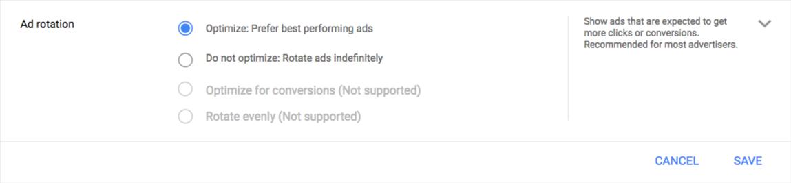 Změna střídání reklam AdWords