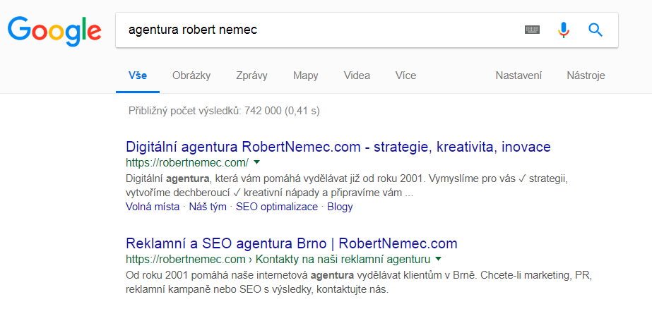 Klíčové slovo a výsledky vyhledávání na Google