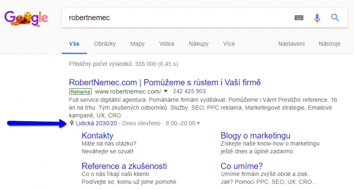 Rozšíření o lokalitu Google Ads
