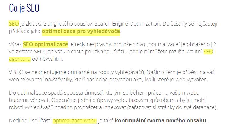 Využití hledaných klíčových slov týkajících se SEO (žluté) v textu
