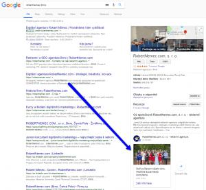 Ukázka příspěvku Google My Business ve vyhledávání