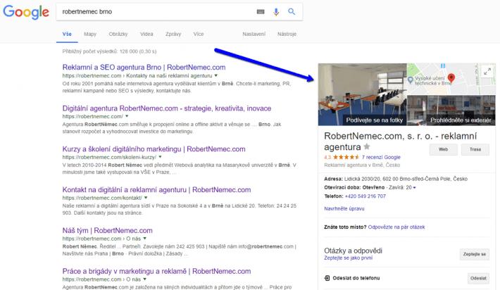 Zápis Google My Business v desktopových výsledcích vyhledávání