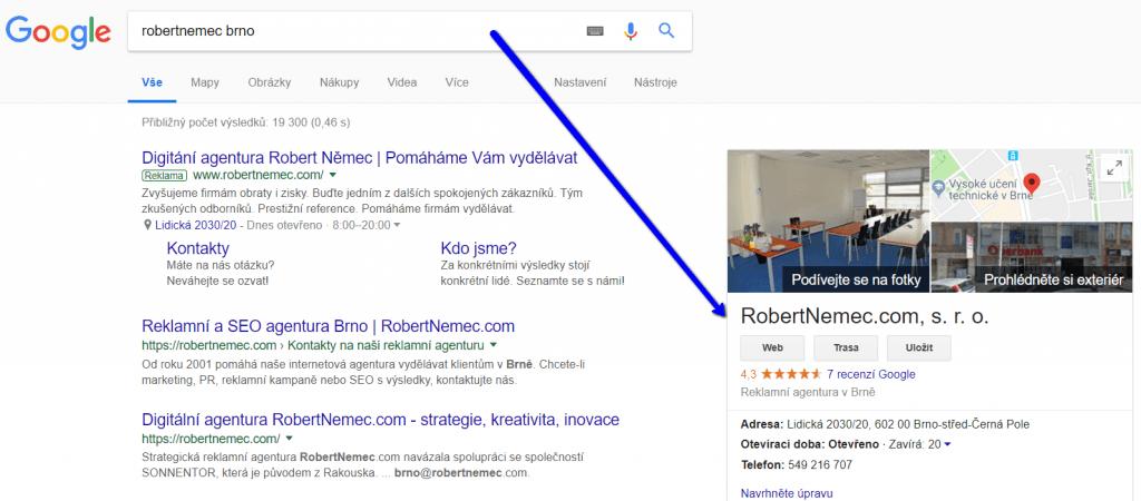Zápis Google Moje firma
